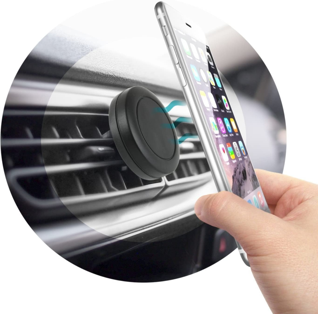 Attach navigation device or mobile phone with a magnet